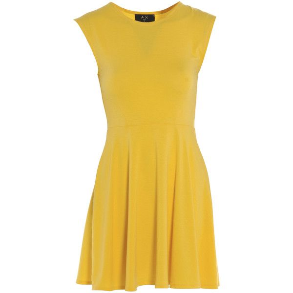 AX Paris Plain Cute Skater Dress (485 ARS) ❤ liked on Polyvore featuring dresses, yellow, skater dress, beige dress, yellow dress, ax paris dresses and beige skater dress