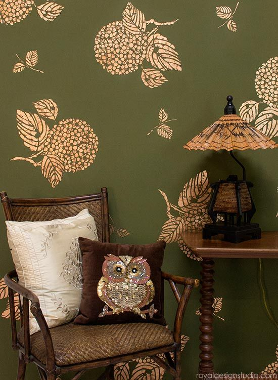 Stenciling Living Room Wall For Pattern