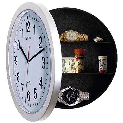 Wall Clock Safe for Home with Hidden Compartment. Kitchen Diversion Clock with Secret Storage. You Can Hide Stuff and Stash Your Cash, Jewelry, Watches, Camera, Money and Hide Keys. Our New Large Wall Clocks, Best Home Security Wall Safes Home Clock to Hide Car Keys, Gun Safe Key, Credit Cards or As Medicine Cabinet. This Flat Electronic / Kitchen Wall Décor Battery Kitchen Time Clocks Fit Any Décor. Best White 10 Inch Round Clock Small House Safe Security Essentials Deposit Box for Free ...