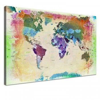 Leinwand Bild Weltkarte Bunt 100 x 70 cm, einteilig, 59,90€, mehrere Größen