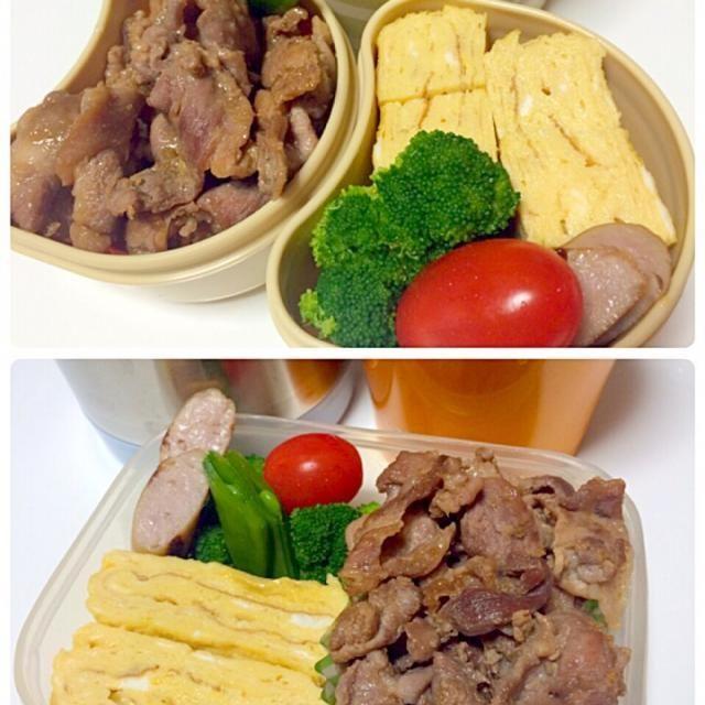朝練 - 13件のもぐもぐ - 生姜焼き、卵焼き、しめじ豆腐味噌汁弁当 by seabreeze