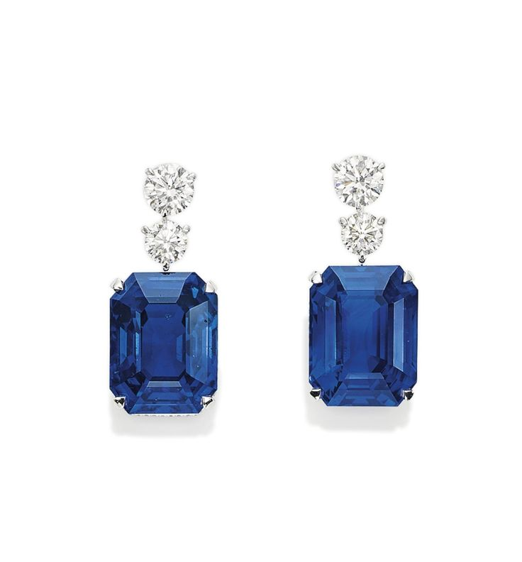 An Exceptional Pair of Sapphire and Diamond Earrings, by David Morris #sapphire #diamond #earrings