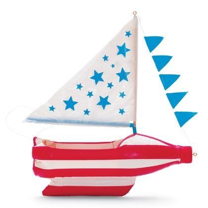 Make this patriotic sailboat with a recycled plastic drink bottle -- perfect Fourth of July craft!