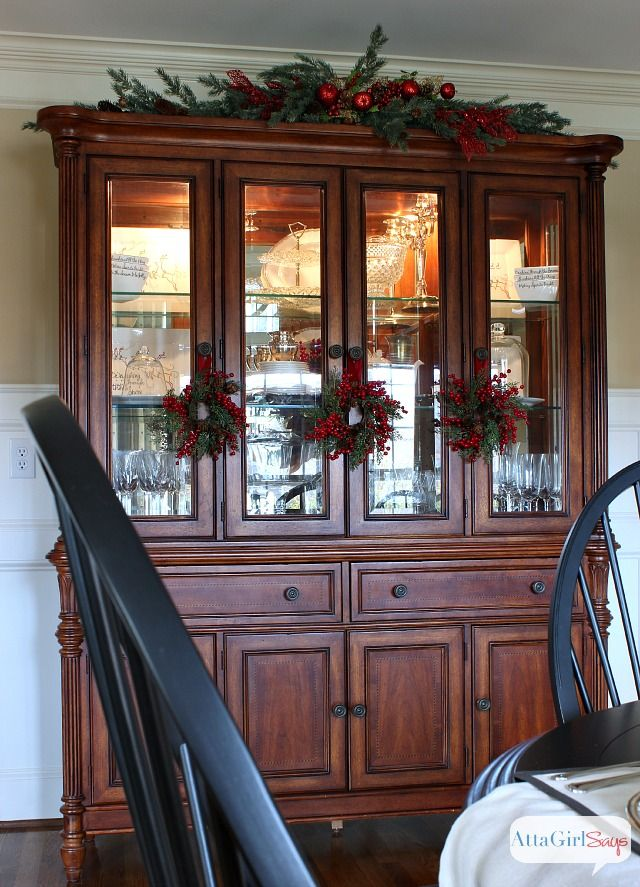 Atta Girl Says 2013 Christmas Home Tour & Holiday Decorating Ideas Love this idea for the hutch