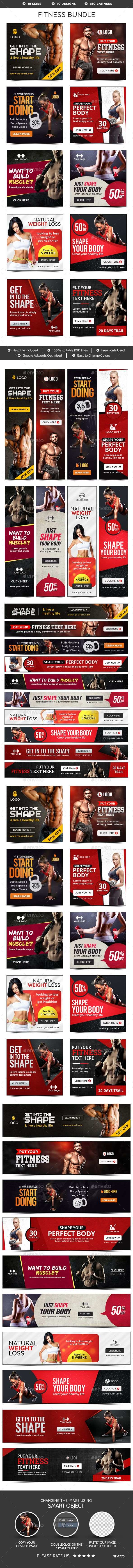 Fitness Banners Bundle - 10 Sets - 180 Banners PSD
