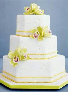 Hexagonal exotic orchid white yellow cake