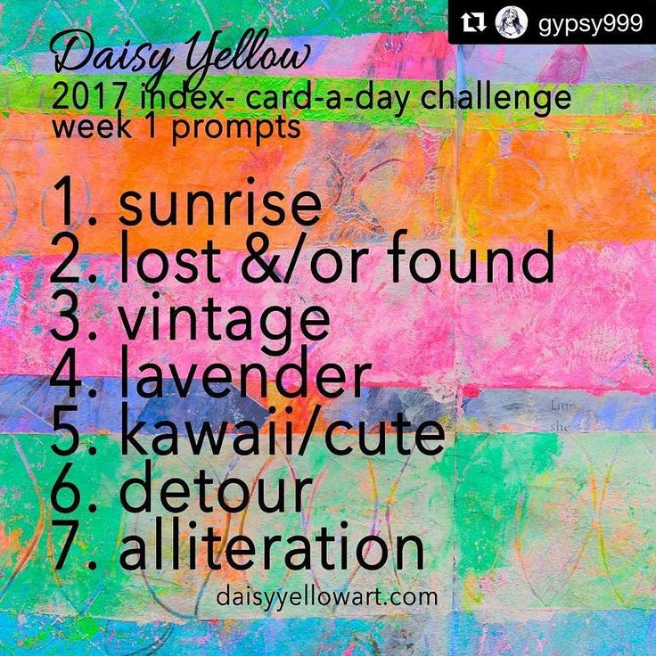 The first week's (optional) prompts for the 2017 Index Card a Day challenge.  #dyicad2017 #ICAD #challenges #indexcardaday #artchallenge
