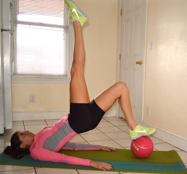 med ball tabata workout ... I like the one-leg bridge with leg lift move
