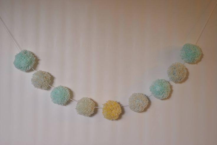 Pompom garland, Easter pastel yarn pom pom garland , super bulky, large pom pom banner, nursery decor, baby bedroom decor, nursery hanging by pamelasunshinedesign on Etsy