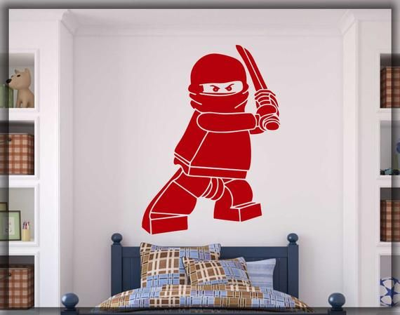 Ninjago lego wall decal, gamer room home art decal, wall decor, video game decal, nintendo room deco