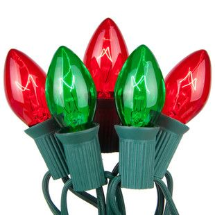 C7 Red / Green Commercial Christmas Lights 50 lights for $30