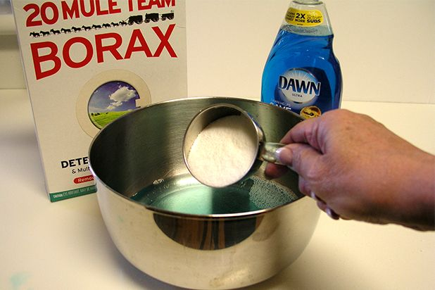 2 tbsp Dawn, 2 cups hot water + 1 cup distilled vinegar + 1/2 cup Borax = degreased kitchen cabinets