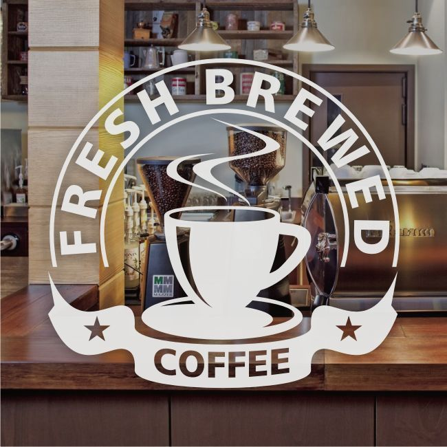 Fresh Brewed Coffee Window Sign Sticker Restaurant Graphic