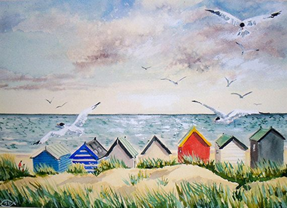 """Beach Huts, Southwold"""" by Jean Larner Gallery"