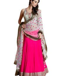 Buy Pink embroidered net unstitched lehenga choli lehenga-choli online