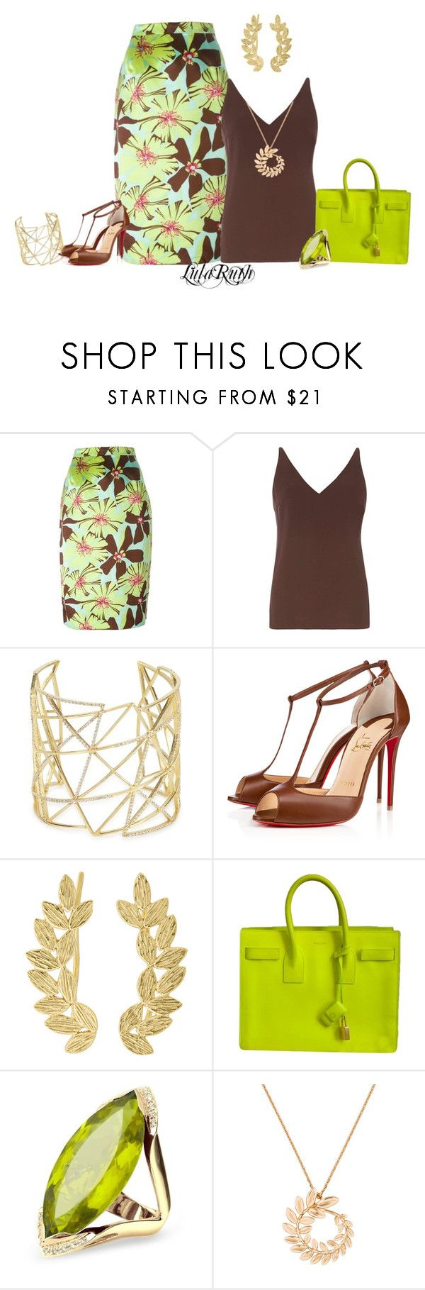 """""""Chartreuse Set"""" by melanie-cross ❤ liked on Polyvore featuring Prada, Dorothy Perkins, Joanna Laura Constantine, Christian Louboutin, Eddera, Yves Saint Laurent, Forzieri and Chopard"""