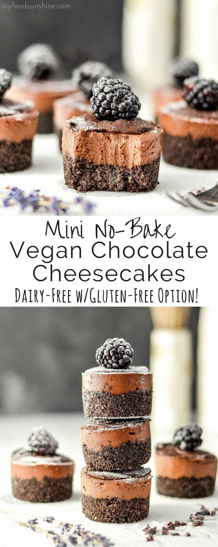 Mini No-Bake Vegan Chocolate Cheesecakes are a simple, elegant dessert that are easy and delicious! Vegan with a gluten-free option! Paleo friendly!