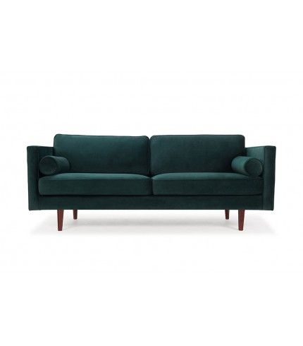Harper, 3-seater sofa, Velour Dark Green, Walnut Stained Legs