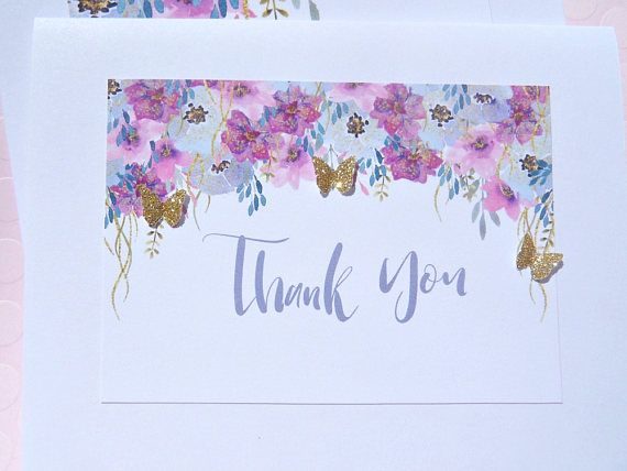 Floral Note Cards  Floral Thank You Cards  Butterfly Thank