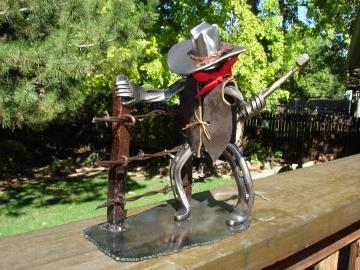 Horseshoe cowboy fence builder by DavidHamiltonDesigns for $55.00  #zibbet #rustic: Shoes Horse Decor, Cowboy Fence, Horseshoe Crafts, Horseshoes, Craft Ideas, Horse Shoes Horse, Horseshoe Cowboy