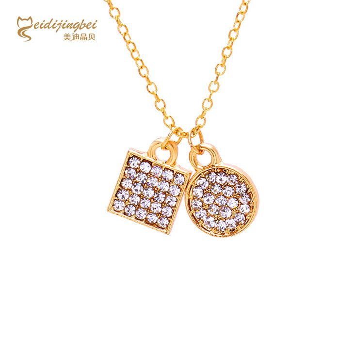 The new 2017 round and square rhinestone necklace girlfriend pendant necklace, jewelry wholesale gold-plated charm women