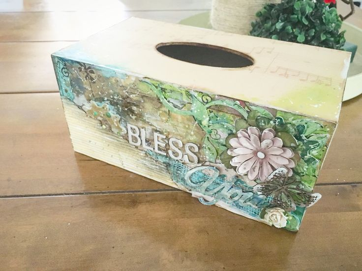Embellished wooden tissue box cover - bless you