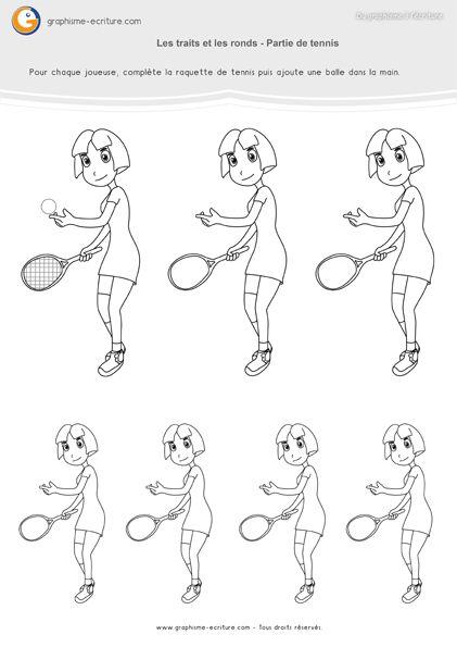 PDF Graphisme PS Traits et Ronds dans la Partie de tennis - Compléter les équipements des joueuses de tennis en ajoutant le ballon ou les fils.