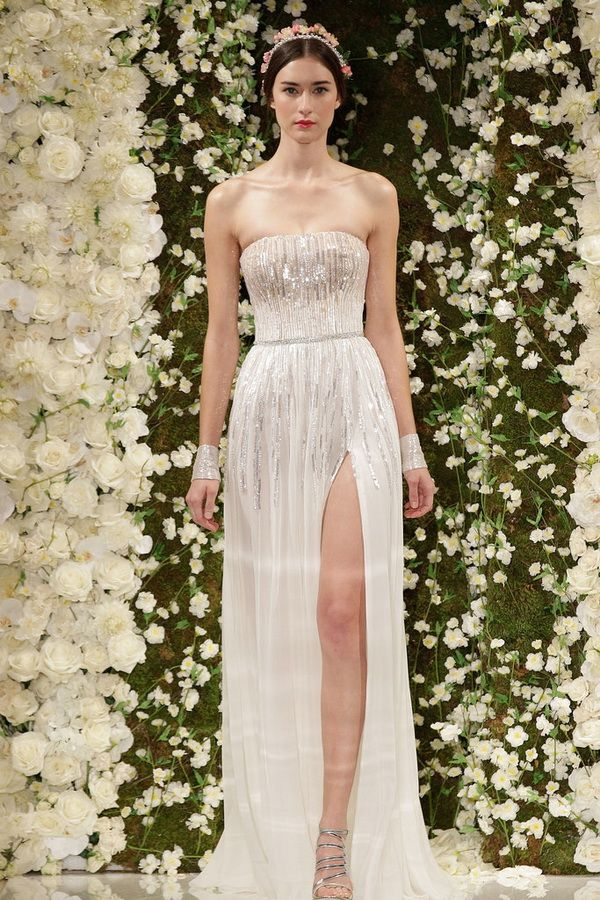 reem acra fall 2015 bridal collection silver wedding dress with slit