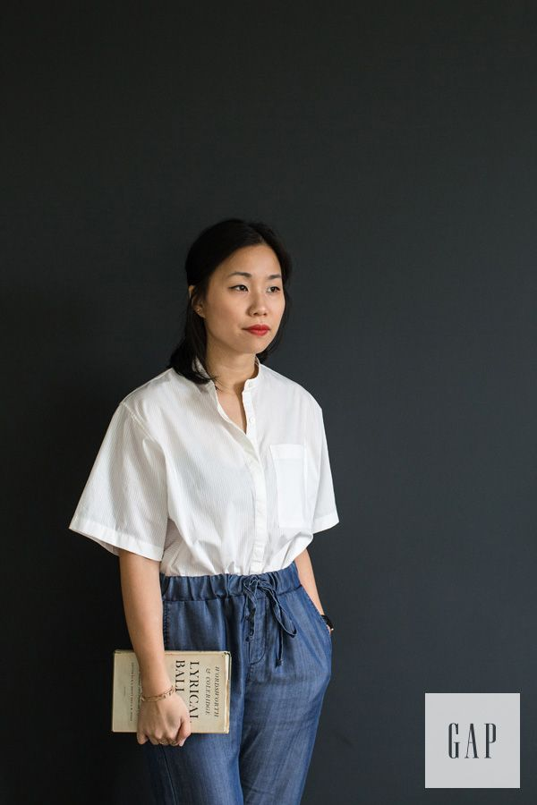 Timeless and cool is our spring wardrobe motto. Cereal magazine editor Rosa Park pairs her Gap collarless shirt with denim joggers. Shop her look.