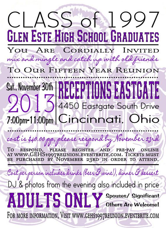 "High School/ College Class Reunion Invite, Nametags, RSVP card, Insert- Any Color Customizable 5.25"" x 5.25"" Printable Package by BluegrassWhimsy, $37.00"