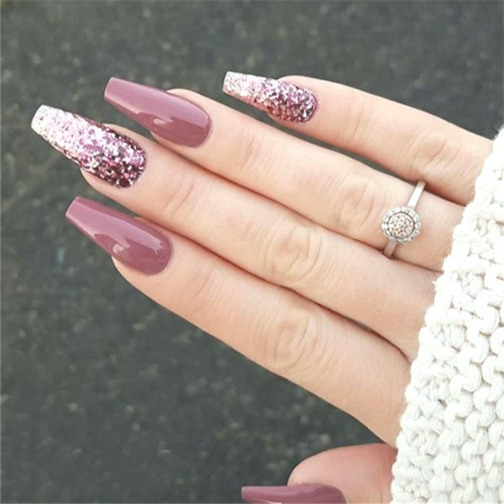 30 Elegant Purple Glitter Coffin Nails Inspirations Tips Acrylic Nails Coffin Glitter Christmas Nails Acrylic Purple Nails