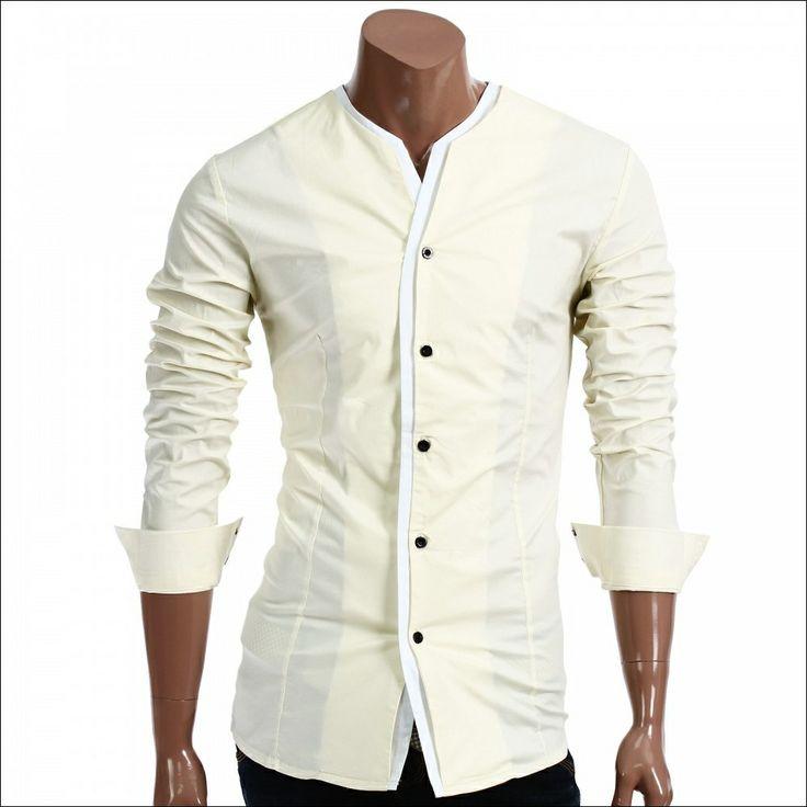 13 best banded collar tuxedo shirt images on pinterest for Men s collarless banded collar dress shirt