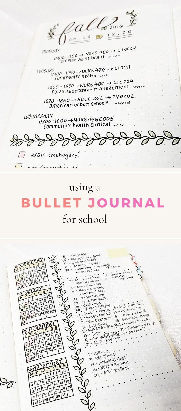 Bullet Journal for School -- setting yourself up for success with your planner or bullet journal this semester! #planner #school #bulletjournal