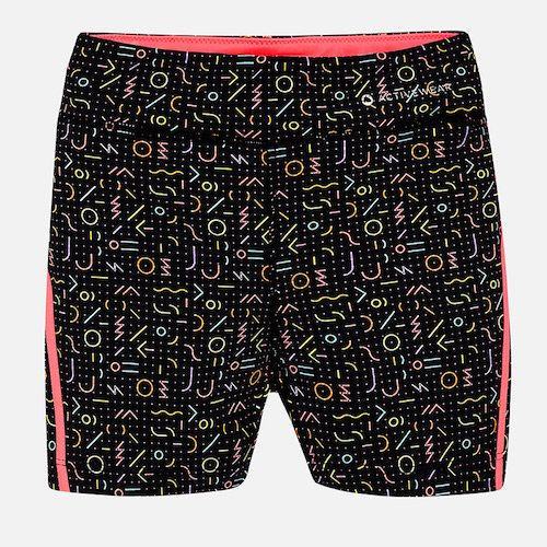Designed for girls, these Mayoral black shorts have an all-over colourful print and are from the brand's Activewear range. Super comfortable to wear, they are made in a soft and stretchy, quick-drying jersey fabric, with an an elasticated waist for a snug fit.