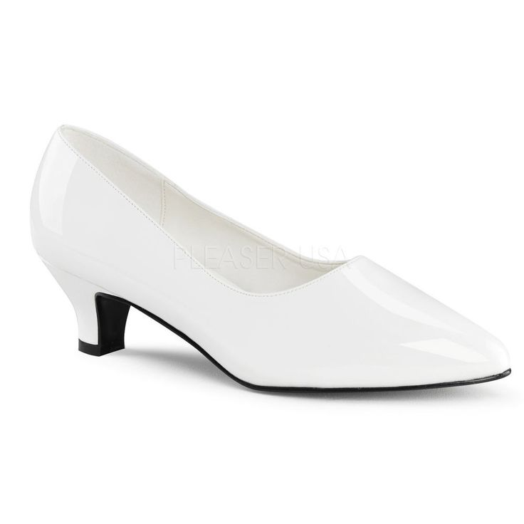 White Kitten Heel Pumps