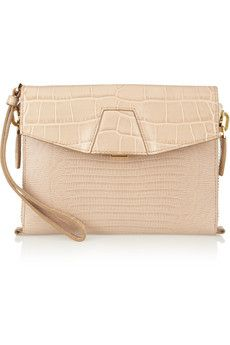 Alexander Wang Lydia croc-effect leather clutch    THE OUTNET