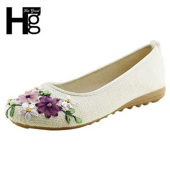 HEE GRAND 2017 Women Flower Flats Slip On Cotton Fabric Casual Shoes  Comfortable Round Toe Flat