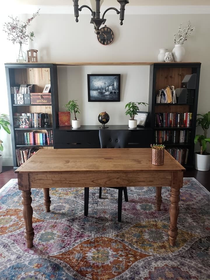 Farmhouse writing desk with turned legs ana white home