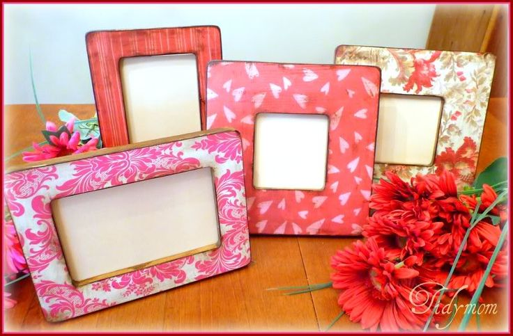 Made with $ 1 frames and scrapbook paper.