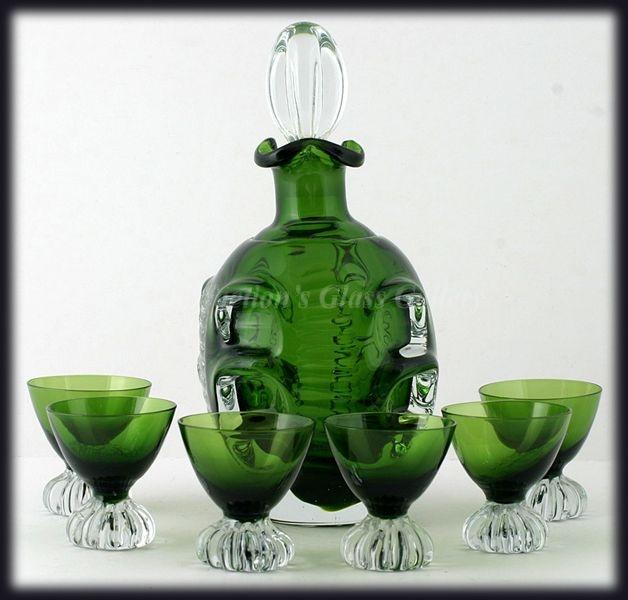 Aseda 1960s Bo Borgstrom Emerald Green Knobbly Decanter & Glasses