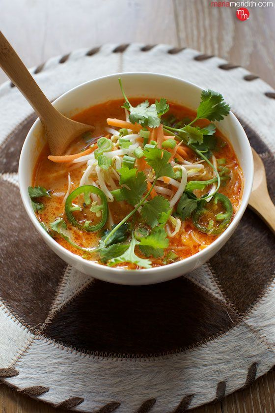 Spicy Thai Red Curry Noodle Soup  4 cups chicken stock 2 cans of coconut milk 3 1/2 TBS red curry paste 2 TBS minced garlic 2 TBS fresh ginger 2 TBS peanut butter Chilli powder  Red pepper flakes Jalapeno Chicken thighs Green beans Mushrooms  Shredded carrots Noodles