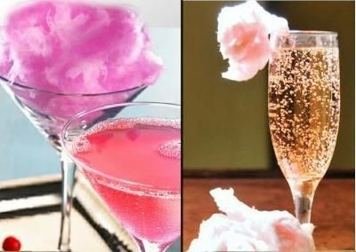 Drink de Algodão Doce: -Algodão doce -45 ml de vodka -45 ml de água com gás -Gelo