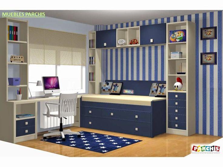 94 best images about dormitorios juveniles e infantiles compactos camas nido on pinterest un for Habitaciones juveniles 3 camas