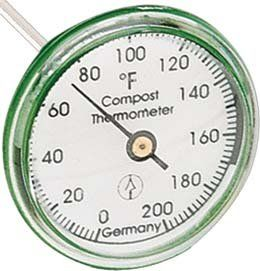 "Compost Thermometer by HOKCO. $18.95. Made in Germany. Monitors the interior temperature of your compost. Hermetically sealed waterproof plastic housing. Temperature scale 0-200 ºF. 16"" stainless steel measuring probe. Heat plays an important role in the composting process and for that reason a compost thermometer is crucial.  This thermometer will ensure that the proper temperature is obtained and maintained.  The waterproof plastic enclosure, with its appropri..."