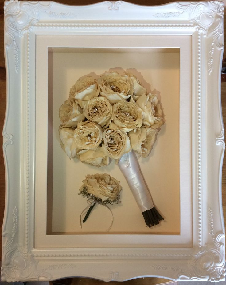 3D Preserved Bouquet This is Laura's stunning preserved wedding bouquet displayed alongside her new husband's buttonhole. Go to infinityflowers.co.uk to find out how you can get your wedding bouquet turned into a gorgeous framed keepsake.