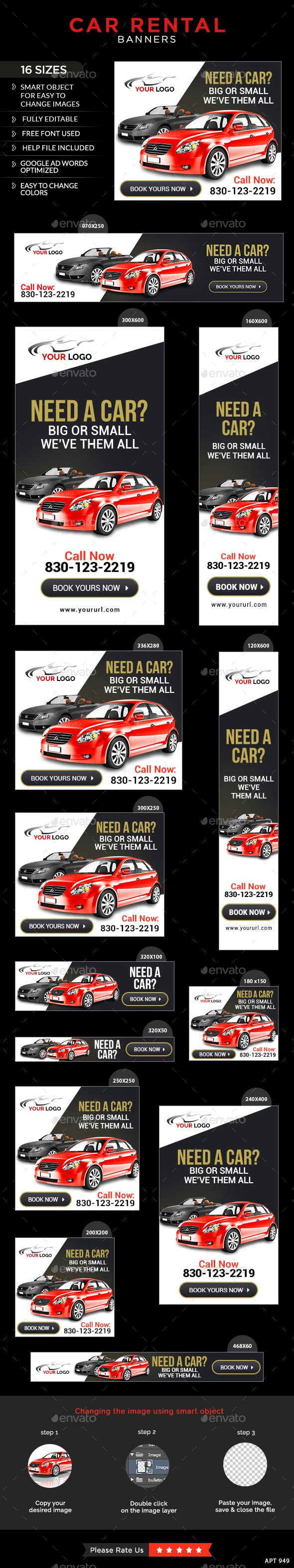 Car Rental Banners & Ads Web Template PSD. Download here: http://graphicriver.net/item/car-rental-banners/13363380?s_rank=1779&ref=yinkira
