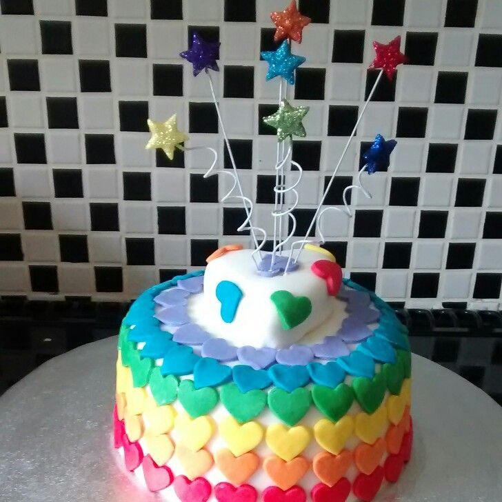 Rainbow heart cake by LadyGrayTea