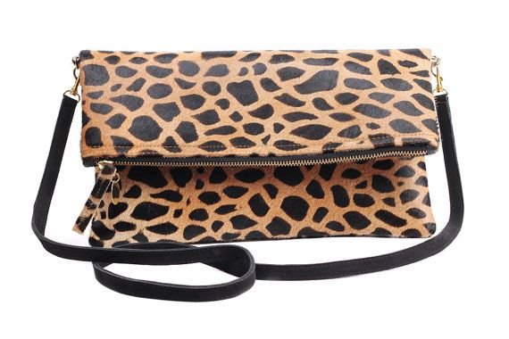 Leopard calf hair fold over clutch, Leopard Clutch, Leather leopard clutch, Lepoard Clare Vivier inspired clutch