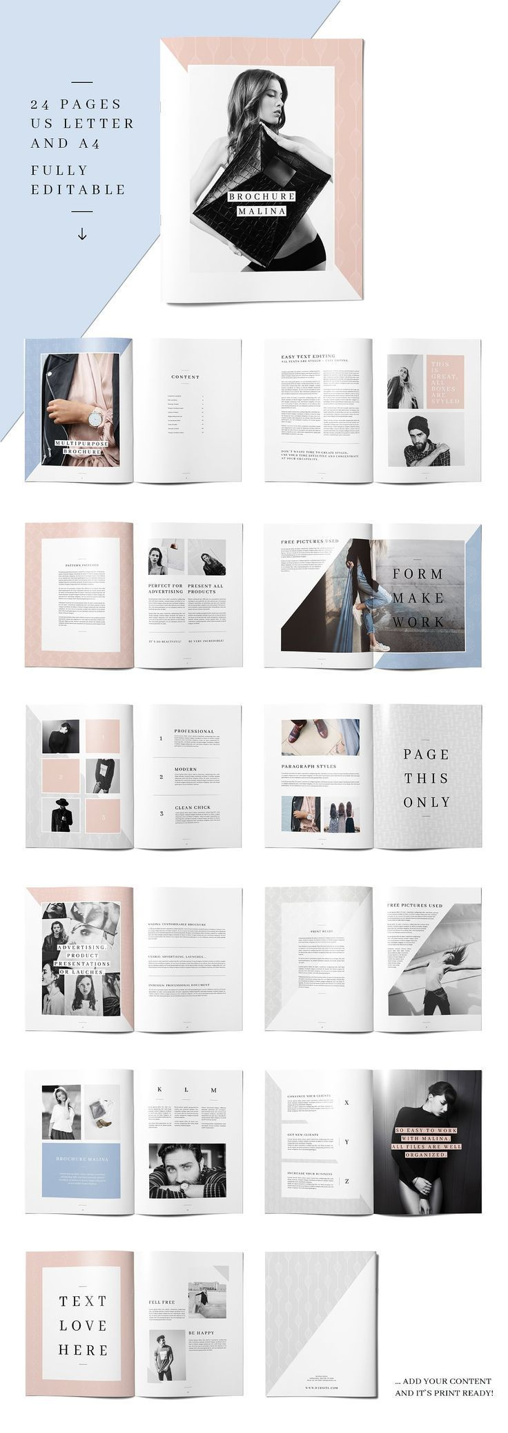 MALINA brochure + 20 samples by AgataCreate in the creative market for print templates