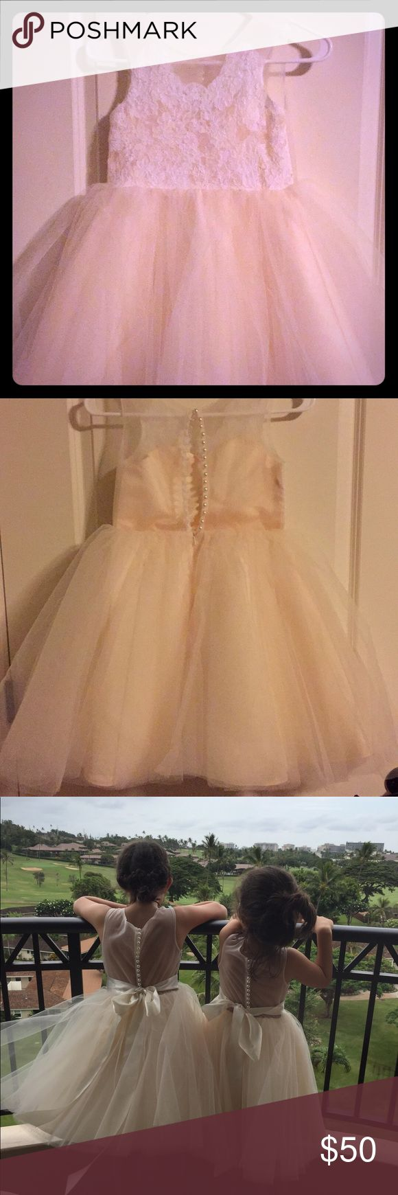 JJs House Girls White Tulle Lace Dresses Pretty white lace, tulle girls dresses Brand new condition Still has tags Also include satin belts These dresses are adorable Size 6 and 8 available JJs House Dresses Formal